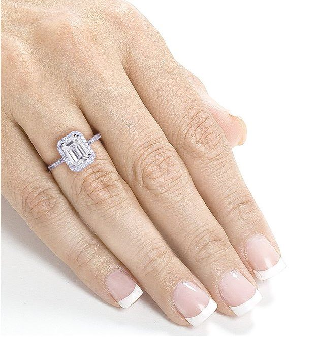 ... 2 Carat Emerald cut moissanite and Diamond engagement ring
